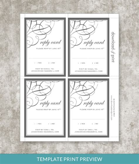 free printable rsvp cards templates 9834 ae print preview
