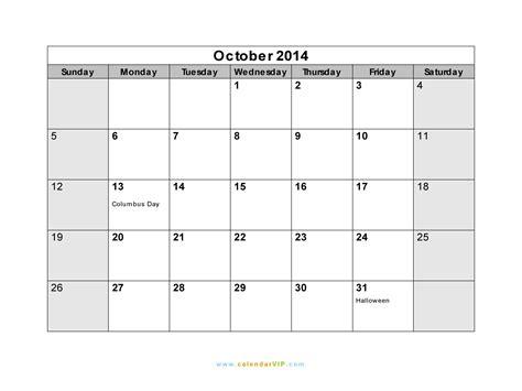 2014 October Calendar October 2014 Calendar Blank Printable Calendar Template