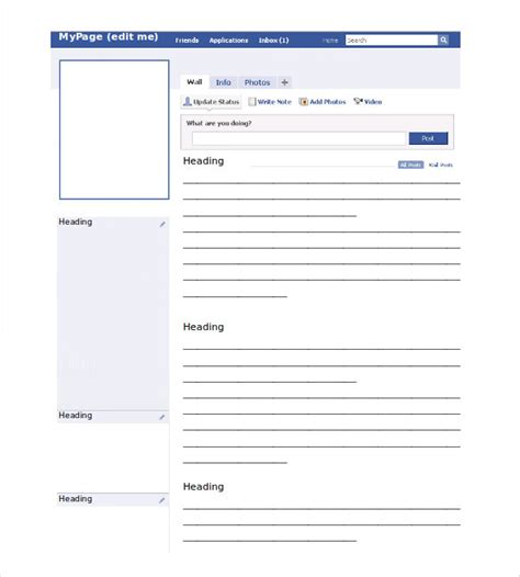 empty facebook template for powerpoint pictures to pin on