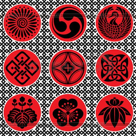 japanese ornament black and white icons serie of high quality graphics