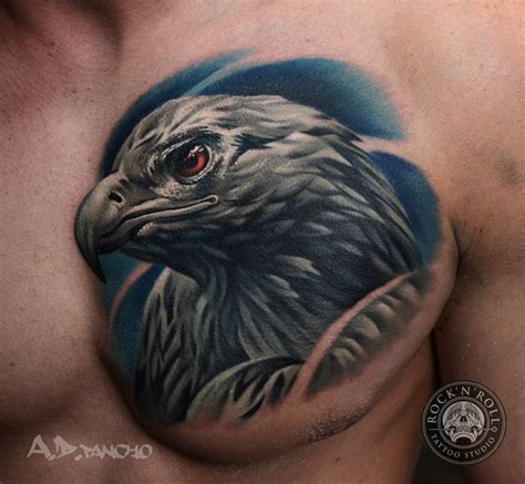 eagle tattoo and piercing studio realistic eagle head tattoo on chest by a d pancho