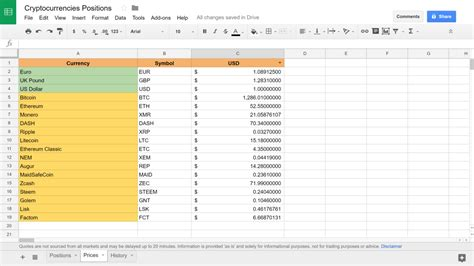 Live Spreadsheet by Cryptocurrency Investment Tracking Spreadsheet Live Update