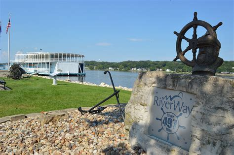 mississippi river boat cruise leclaire iowa great river road shines along mississippi river