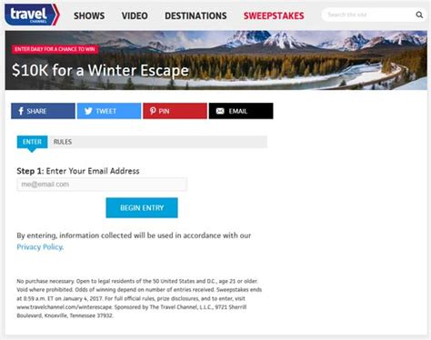 Travel Channel Sweepstakes Entry - travelchannel com winterescape sweepstakes sweepstakes pit