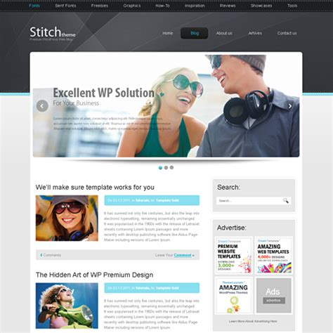 Stitch Html Template Web Blog Personal Css Templates Dreamtemplate Personal Website Template Html Css