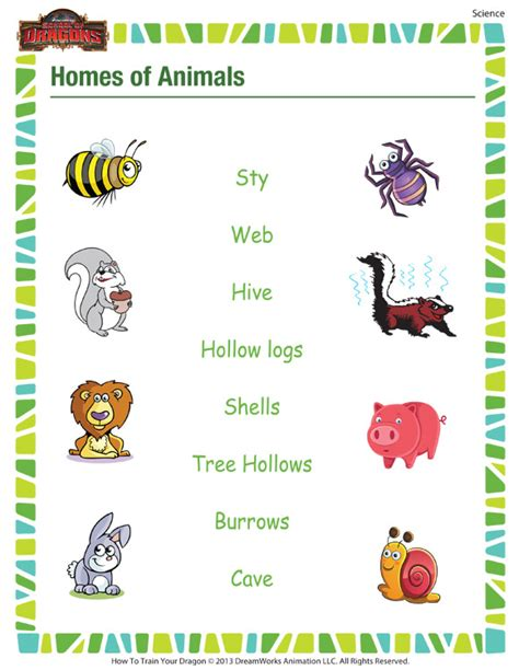 1st Grade Science Worksheets by Homes Of Animals Free Printable Science Worksheet For