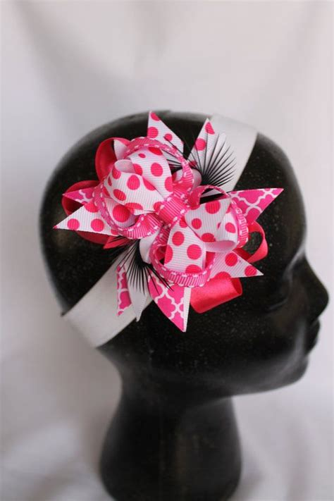 pink feather ribbon hair clip bow crochet a stacked hairbow with pink ribbon and feathers pink