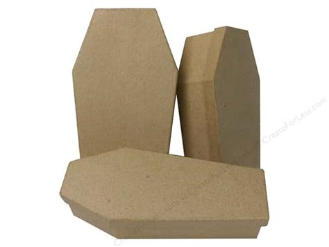 How To Make A Paper Coffin - paper mache coffin shaped box set of 3 by craft pedlars