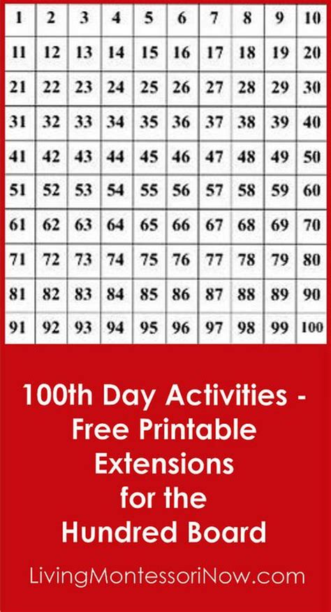 printable montessori hundred board 136 best images about homeschool 100 days of school ideas