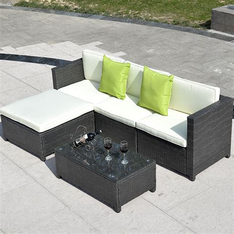 rattan outdoor sofa outdoor patio wicker sofa set 5pc pe rattan