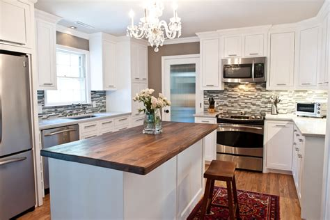 White Kitchen Island With Butcher Block Top by Brick Ranch Receives Exterior Makeover Sceltas Llc