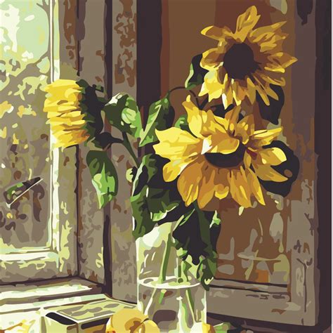 frameless pictures frameless pictures diy window sill sunflower oil painting canvas digital pictures coloring by