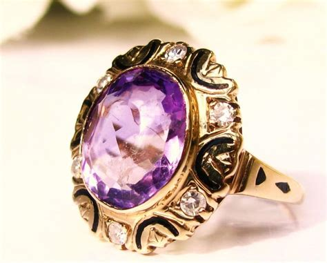 antique amethyst engagement ring 4 57ct oval genuine