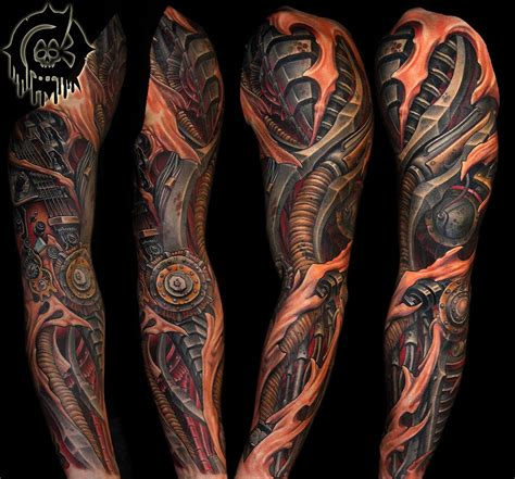 biomechanical arm tattoo biomechanical sleeve by julian siebert