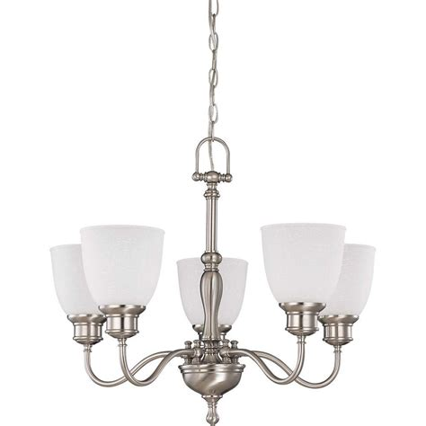 Linen Chandelier Glomar 5 Light Brushed Nickel Arms Up Chandelier With Frosted Linen Glass Shade Hd 2775 The