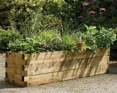 Patio Planters Uk by Forest Garden Caledonian Rectangular Raised Bed Planter