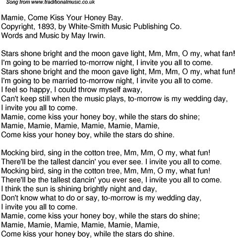 time song lyrics for 49 mamie come your honey bay