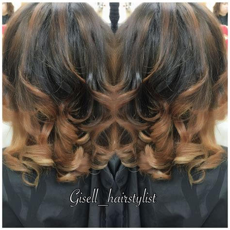 balayage black woman beauty by gisell color corrective from black to caramel
