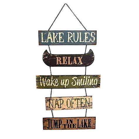 bed bath and beyond sign up metal quot lake rules quot sign wall art bed bath beyond
