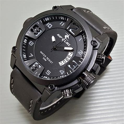 Jam Pria Ripcurl Tali Kulit Coklat Tua Jarum Putih jual jam tangan pria ripcurl quiksilver quicksilver