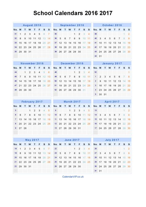 2016 To 2017 Academic Calendar School Calendars 2016 2017 Calendar From August 2016 To