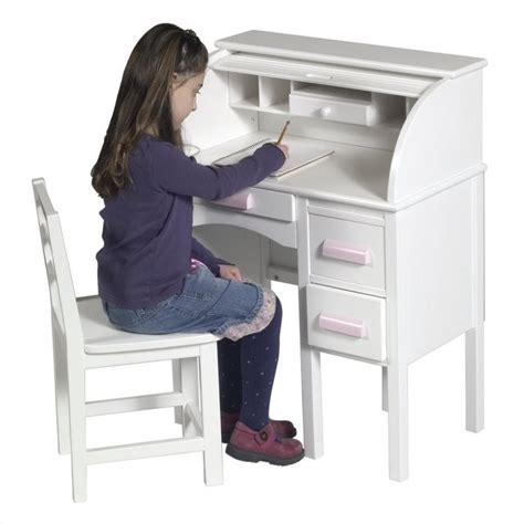 Guidecraft Jr Roll Top Wood Desk In White G97301 White Desk With Wood Top