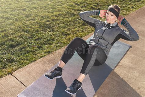 fit woman  abdominal crunches stock photo image