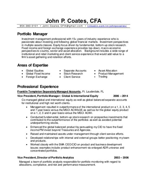 Finance Manager Sample Resume by John P Coates Cv Portfolio Manager