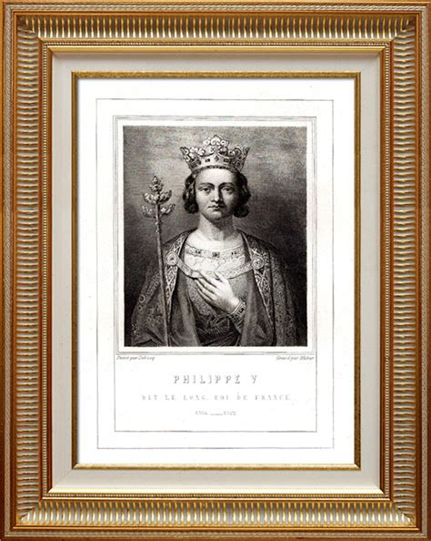 Le Enfant 1292 by Gravures Anciennes Portrait De Philippe V Dit Le