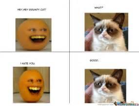 Annoying Cat Meme - annoying orange vs grumpy cat by kakian wong meme center