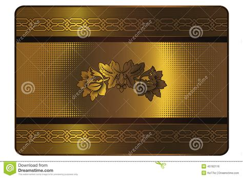 Credit Card Template Gold Gold Credit Card Template Stock Illustration Image