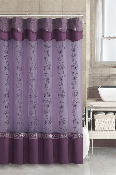 Fabric Shower Curtains With Valance Purple Fabric Shower Curtain 2 Layered Embroidered Attached Valance Ebay