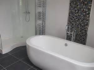 Bathroom Tiling Ideas Pictures white tiles with button mosaic feature strip m c k n i g