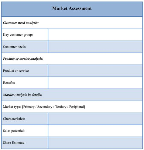 assessment template for market exle of market