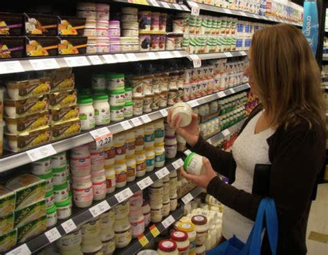 Cottage Cheese Shelf by Shelf Of Dairy Products