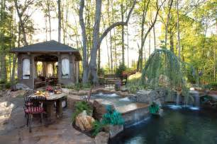 Outside Bathrooms Ideas Create An Oasis In Your Own Backyard With A Pool And Spa