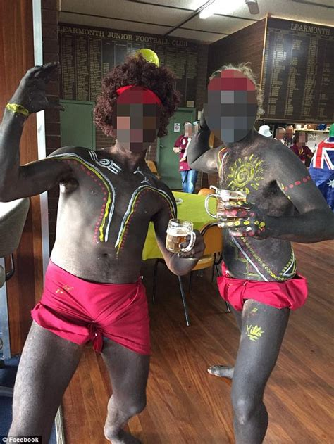 australian themed party uk two victorian men dress up in blackface aboriginal