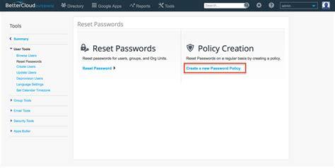 reset user data tool passwords bettercloud help center