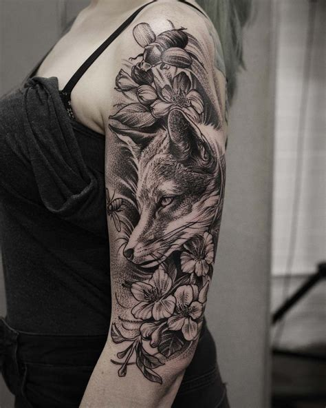 animal tattoo sleeve dotwork fox on halfsleeve ideas