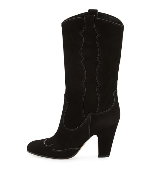 gianvito high heel suede western boot in black lyst