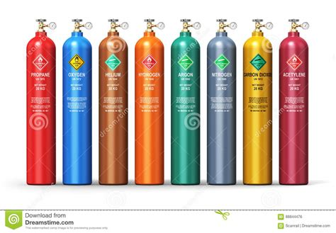 gas color set of different industrial liquefied gas containers stock