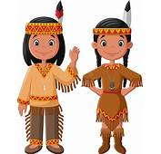 Cartoon Couple Native Indian American With Traditional