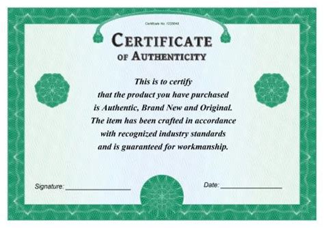 free printable certificate of authenticity templates certificate of authenticity templates free