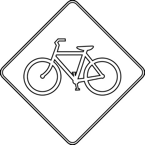 Road Bicycle Outline by Bicycle Crossing Outline Clipart Etc