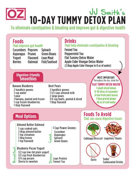 Droz 10 Detox Foods by 10 Day Tummy Tox Plan Analysis From The Dr Oz Show Today