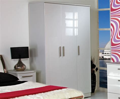 High Gloss White Wardrobes by 3 Door White High Gloss Wardrobes