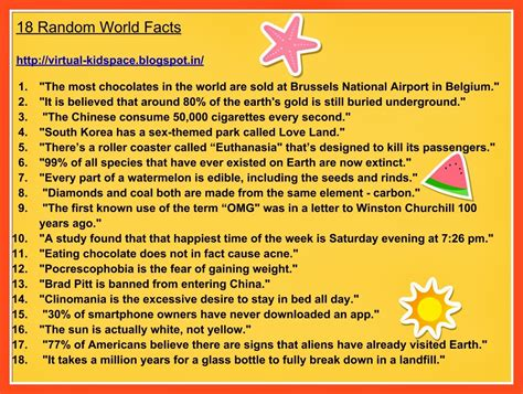 7 Facts On by 18 Random World Facts Kidspace