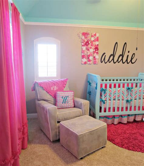 Chevron Nursery Decor Maddie S Pink Aqua And Gray Chevron Nursery Project Nursery
