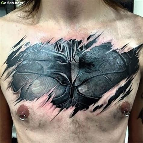 batman chest tattoo 45 most wonderful 3d chest tattoos true 3d chest