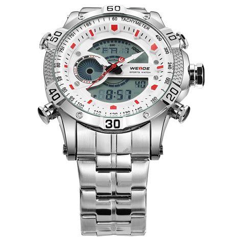 weide jam tangan digital analog pria strap stainless steel